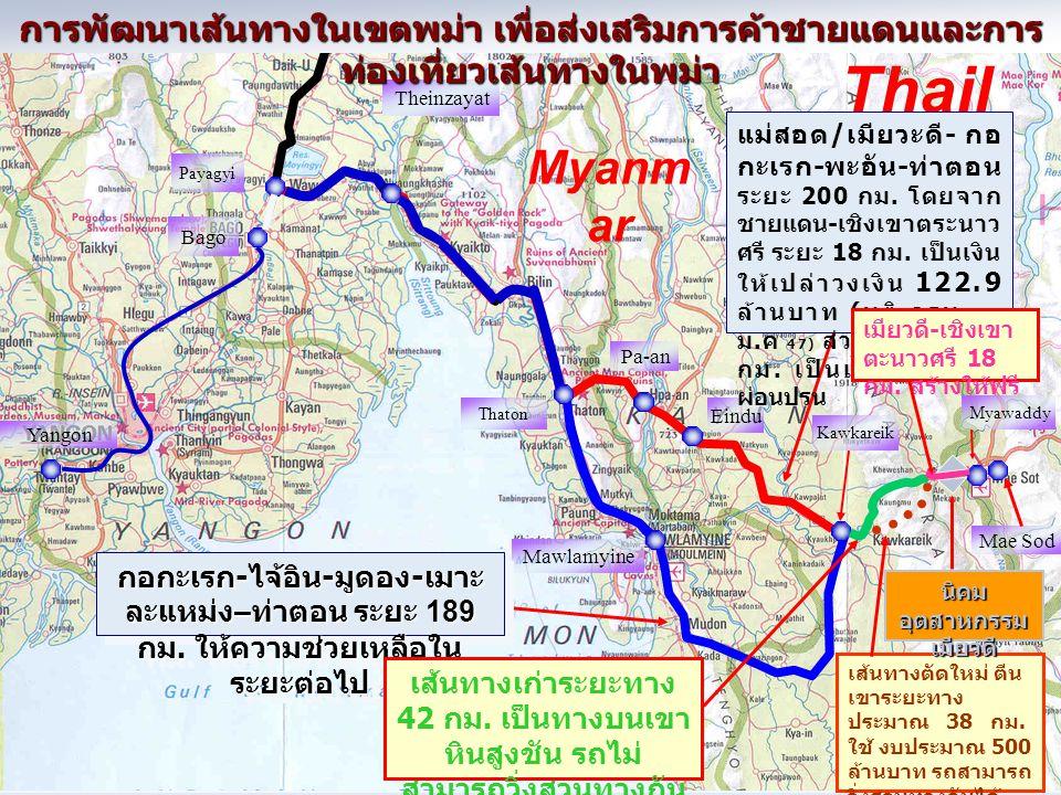 Myanm ar Thail and Kawkareik Mawlamyine Thaton Myawaddy Yangon Pa-an Bago Payagyi Theinzayat Eindu การพัฒนาเส้นทางในเขตพม่า เพื่อส่งเสริมการค้าชายแดนแ