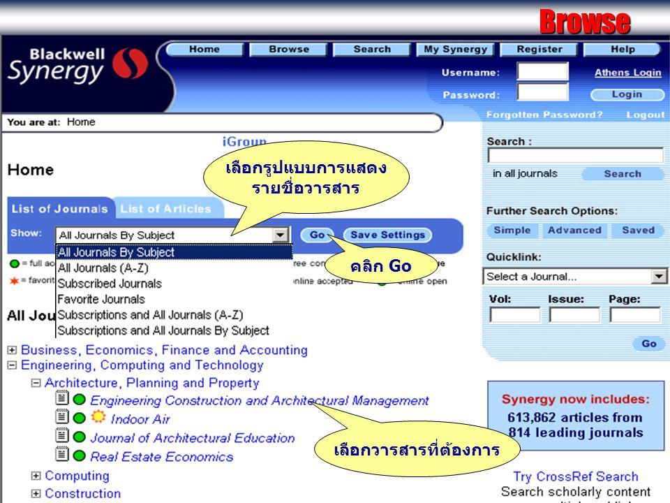 Browse เลือกรูปแบบการแสดง รายชื่อวารสาร คลิก Go เลือกวารสารที่ต้องการ