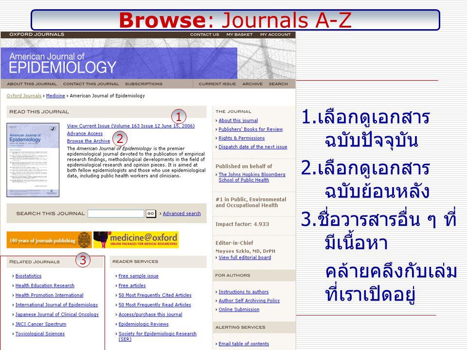 1. หน้า สารบัญ วารสาร 2. เลือกดู บทควา ม จาก วารสาร Browse: Journals A-Z: Current Issue 1 2