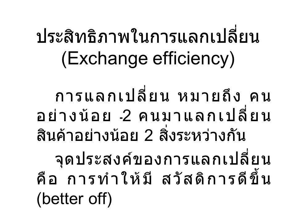 ประสิทธิภาพในการแลกเปลี่ยน (Exchange efficiency) การแลกเปลี่ยน หมายถึง คน อย่างน้อย 2 คนมาแลกเปลี่ยน สินค้าอย่างน้อย 2 สิ่งระหว่างกัน จุดประสงค์ของการ