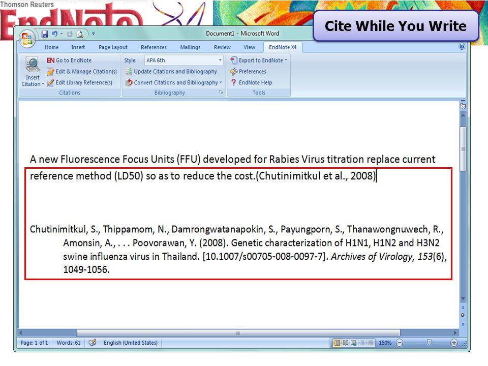 1. คลิกที่ Edit & Manage Citation Edit & Manage Citation 1