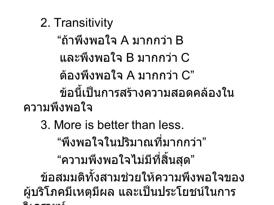 """2. Transitivity """" ถ้าพึงพอใจ A มากกว่า B และพึงพอใจ B มากกว่า C ต้องพึงพอใจ A มากกว่า C"""" ข้อนี้เป็นการสร้างความสอดคล้องใน ความพึงพอใจ 3. More is bette"""