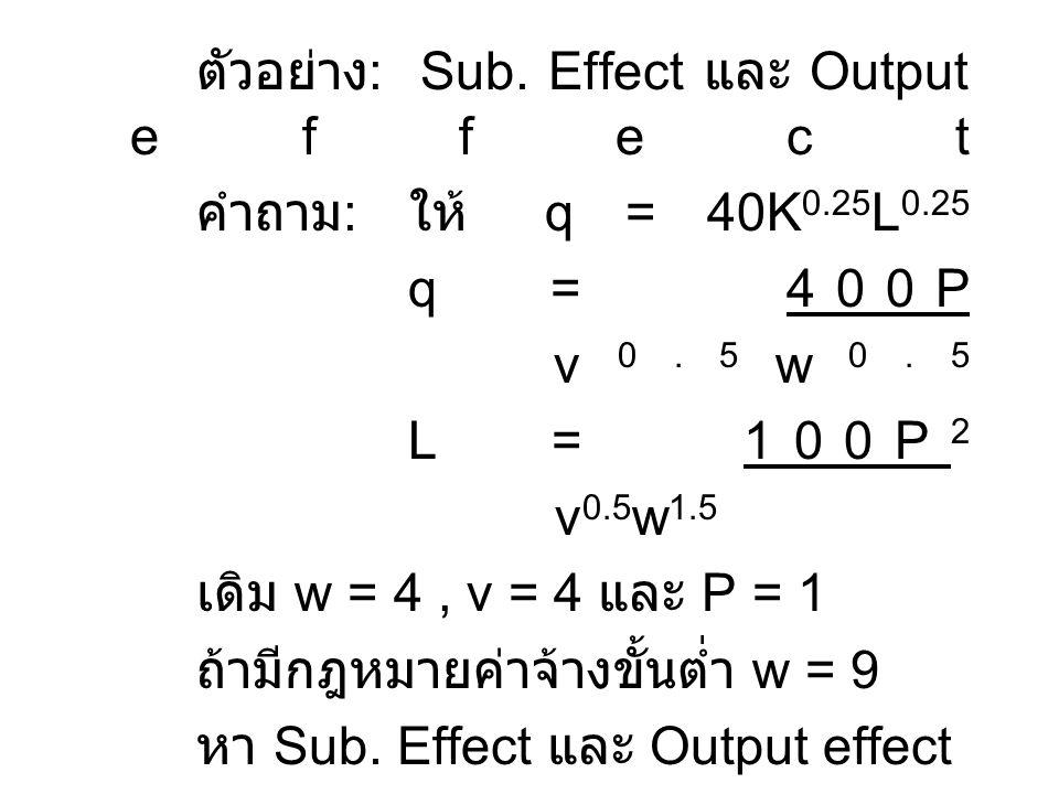 ตัวอย่าง : Sub. Effect และ Output effect คำถาม : ให้ q = 40K 0.25 L 0.25 q = 400P v 0.5 w 0.5 L = 100P 2 v 0.5 w 1.5 เดิม w = 4, v = 4 และ P = 1 ถ้ามี