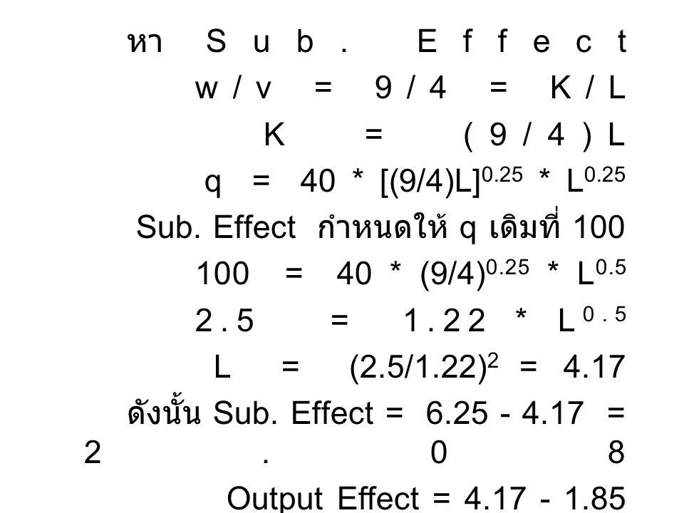 หา Sub. Effect w / v = 9 / 4 = K / L K = (9/4)L q = 40 * [(9/4)L] 0.25 * L 0.25 Sub. Effect กำหนดให้ q เดิมที่ 100 100 = 40 * (9/4) 0.25 * L 0.5 2.5 =