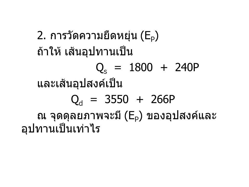 ณ จุดดุลยภาพ Q s = Q d 1800 + 240P = 3550 - 266P 506P = 1850 P = 3.46 บาทต่อตัน Q s = 1800 + (240 x 3.46) = 2630 ตัน