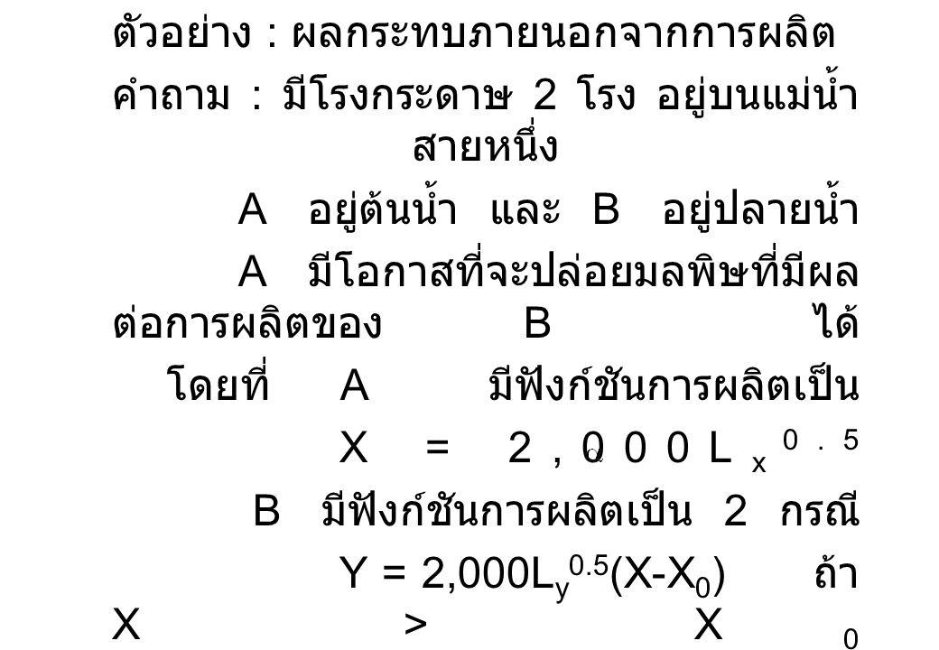 ตัวอย่าง : ผลกระทบภายนอกจากการผลิต คำถาม : มีโรงกระดาษ 2 โรง อยู่บนแม่น้ำ สายหนึ่ง A อยู่ต้นน้ำ และ B อยู่ปลายน้ำ A มีโอกาสที่จะปล่อยมลพิษที่มีผล ต่อก