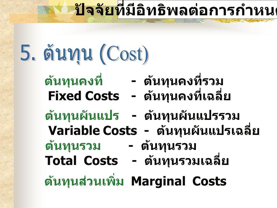 ปัจจัยที่มีอิทธิพลต่อการกำหนดราคา ต้นทุนคงที่ - ต้นทุนคงที่รวม Fixed Costs - ต้นทุนคงที่เฉลี่ย ต้นทุนผันแปร - ต้นทุนผันแปรรวม Variable Costs - ต้นทุนผันแปรเฉลี่ย ต้นทุนรวม - ต้นทุนรวม Total Costs - ต้นทุนรวมเฉลี่ย ต้นทุนส่วนเพิ่ม Marginal Costs