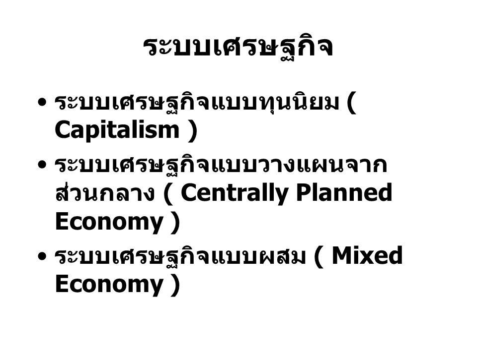 ระบบเศรษฐกิจ ระบบเศรษฐกิจแบบทุนนิยม ( Capitalism ) ระบบเศรษฐกิจแบบวางแผนจาก ส่วนกลาง ( Centrally Planned Economy ) ระบบเศรษฐกิจแบบผสม ( Mixed Economy )