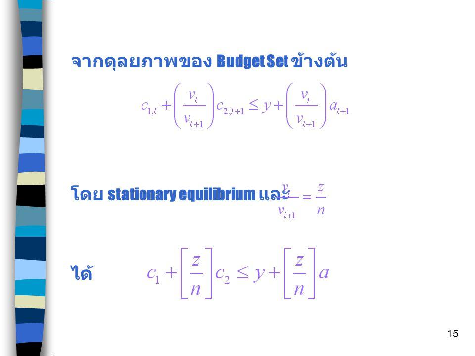 14 n ( มองดุลยภาพในตลาดเงิน ) เมื่อเราตั้ง ใน Period t และ t+1 จะได้