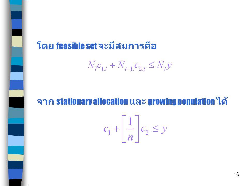 15 จากดุลยภาพของ Budget Set ข้างต้น โดย stationary equilibrium และ ได้