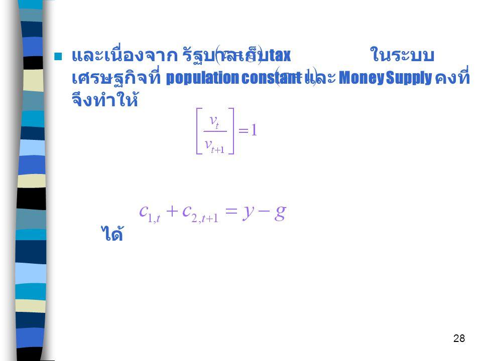 27 A Nondistorting Tax n มีการเก็บ Lump sum tax จากคนแก่ หา budget line โดยที่ และ จึงได้