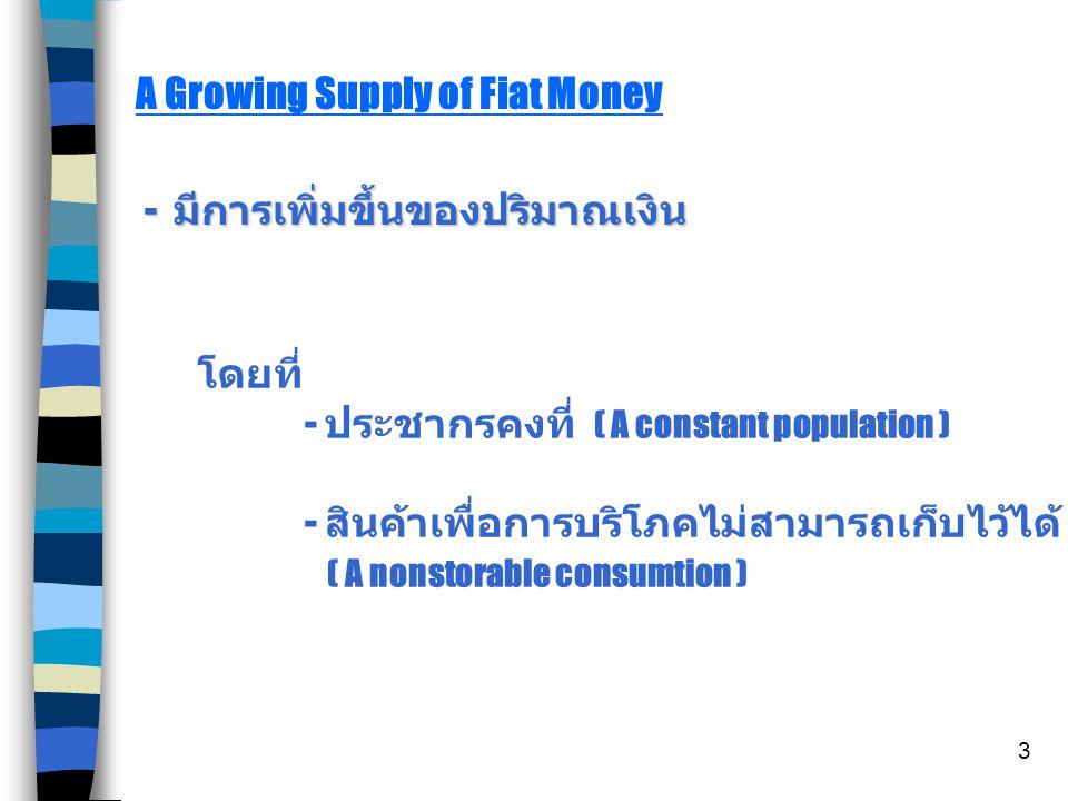 3 A Growing Supply of Fiat Money - มีการเพิ่มขึ้นของปริมาณเงิน โดยที่ - ประชากรคงที่ ( A constant population ) - สินค้าเพื่อการบริโภคไม่สามารถเก็บไว้ได้ ( A nonstorable consumtion )