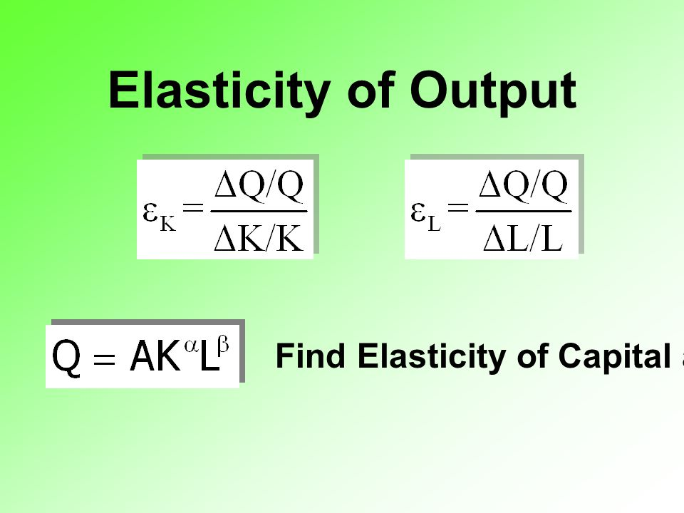 Elasticity of Output Find Elasticity of Capital and Labor