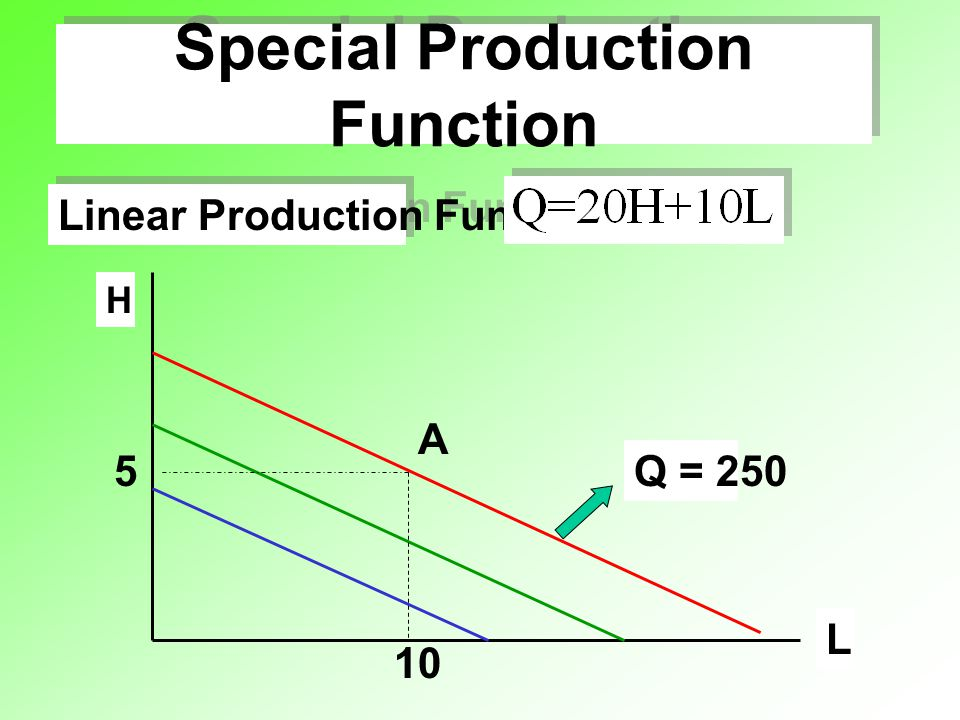 Special Production Function Linear Production Function L H 10 5 A Q = 250