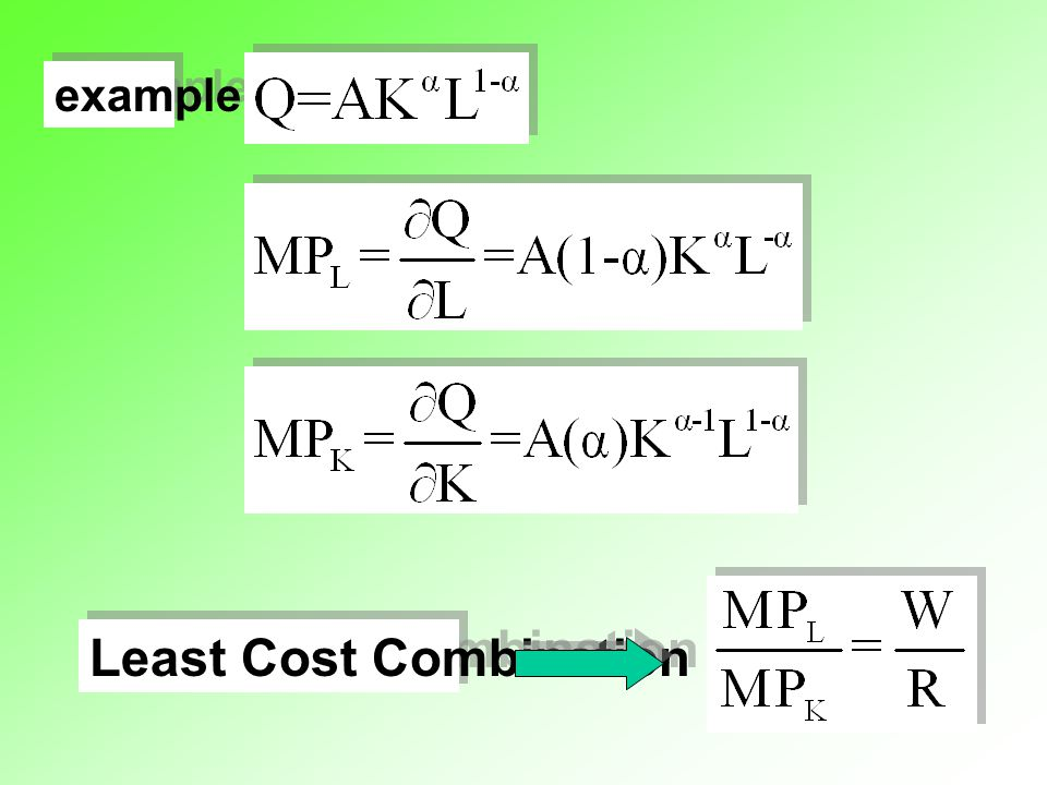 example Least Cost Combination