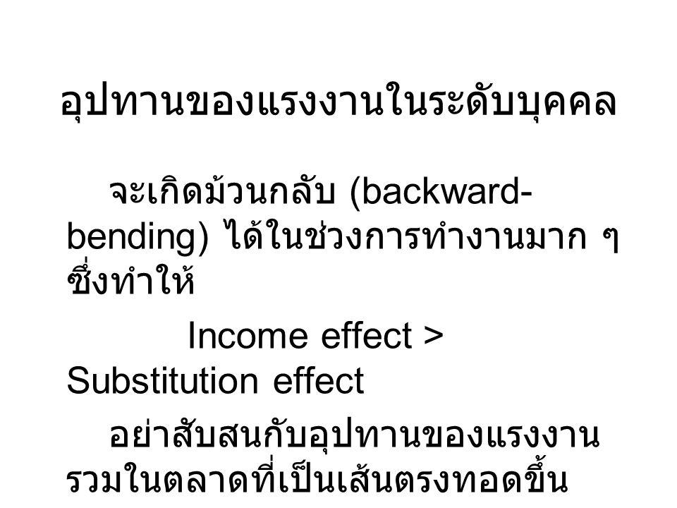 อุปทานของแรงงานในระดับบุคคล จะเกิดม้วนกลับ (backward- bending) ได้ในช่วงการทำงานมาก ๆ ซึ่งทำให้ Income effect > Substitution effect อย่าสับสนกับอุปทาน