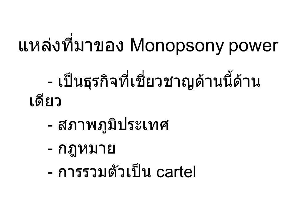 แหล่งที่มาของ Monopsony power - เป็นธุรกิจที่เชี่ยวชาญด้านนี้ด้าน เดียว - สภาพภูมิประเทศ - กฎหมาย - การรวมตัวเป็น cartel