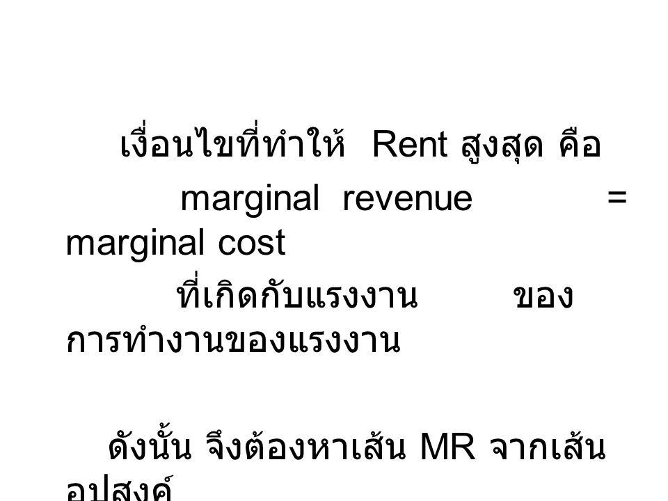 เงื่อนไขที่ทำให้ Rent สูงสุด คือ marginal revenue = marginal cost ที่เกิดกับแรงงาน ของ การทำงานของแรงงาน ดังนั้น จึงต้องหาเส้น MR จากเส้น อุปสงค์