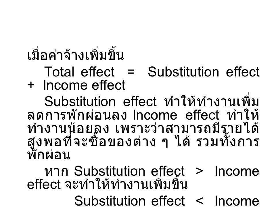 เมื่อค่าจ้างเพิ่มขึ้น Total effect = Substitution effect + Income effect Substitution effect ทำให้ทำงานเพิ่ม ลดการพักผ่อนลง Income effect ทำให้ ทำงานน้อยลง เพราะว่าสามารถมีรายได้ สูงพอที่จะซื้อของต่าง ๆ ได้ รวมทั้งการ พักผ่อน หาก Substitution effect > Income effect จะทำให้ทำงานเพิ่มขึ้น Substitution effect < Income effect จะทำให้ทำงานลดลง