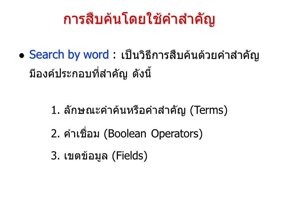การสืบค้นโดยใช้คำสำคัญ Search by word Search by word : เป็นวิธีการสืบค้นด้วยคำสำคัญ มีองค์ประกอบที่สำคัญ ดังนี้ 1. ลักษณะคำค้นหรือคำสำคัญ (Terms) 2. ค