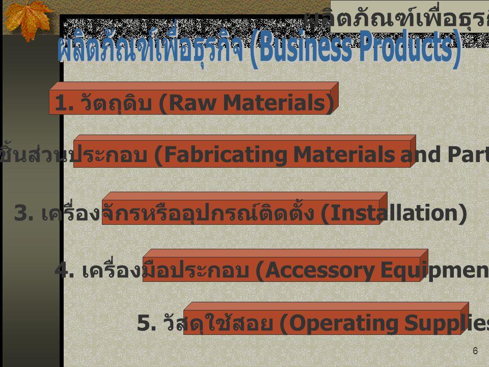 6 ผลิตภัณฑ์เพื่อธุรกิจ 1. วัตถุดิบ (Raw Materials) 2. ชิ้นส่วนประกอบ (Fabricating Materials and Parts) 3. เครื่องจักรหรืออุปกรณ์ติดตั้ง (Installation)