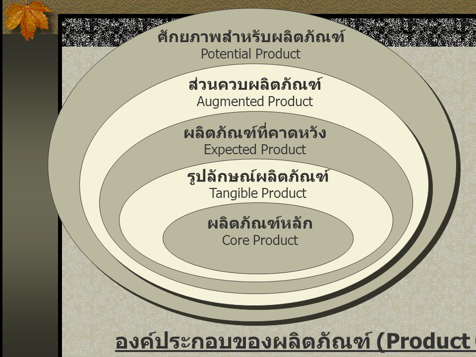 7 ศักยภาพสำหรับผลิตภัณฑ์ Potential Product ส่วนควบผลิตภัณฑ์ Augmented Product ผลิตภัณฑ์ที่คาดหวัง Expected Product รูปลักษณ์ผลิตภัณฑ์ Tangible Product ผลิตภัณฑ์หลัก Core Product องค์ประกอบของผลิตภัณฑ์ (Product Component)