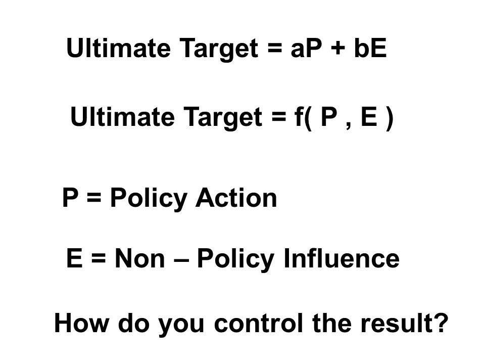 Ultimate Target = aP + bE Ultimate Target = f( P, E ) E = Non – Policy Influence P = Policy Action How do you control the result?
