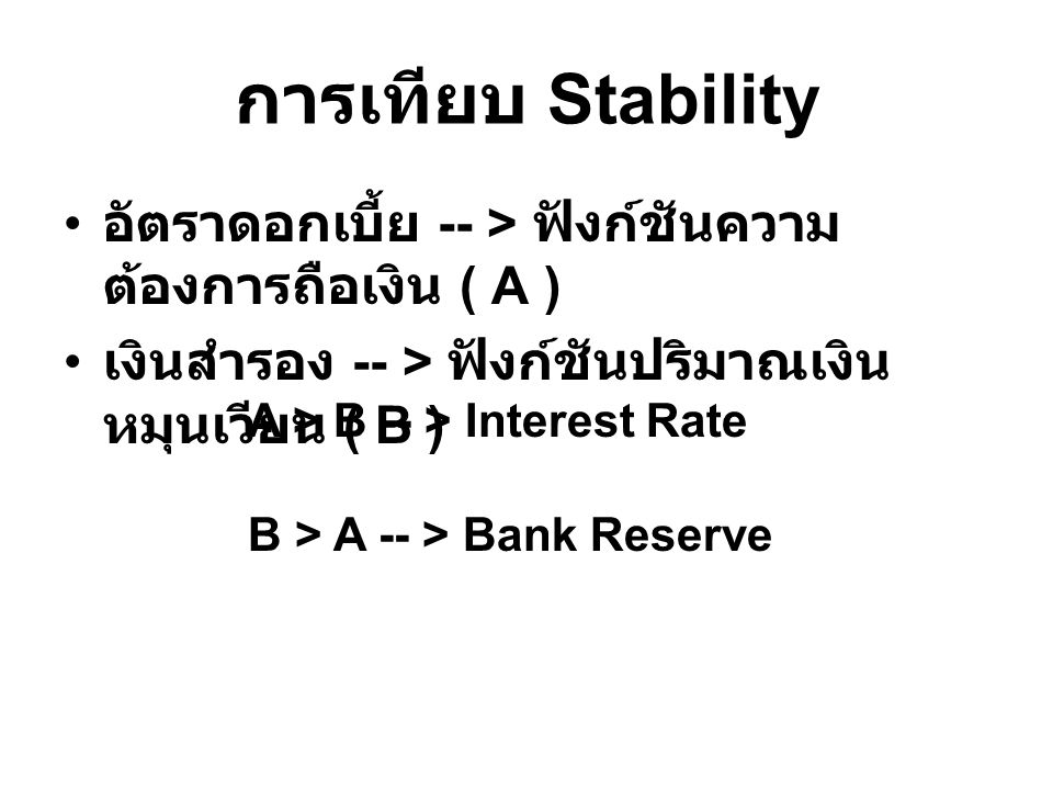 การเทียบ Stability อัตราดอกเบี้ย -- > ฟังก์ชันความ ต้องการถือเงิน ( A ) เงินสำรอง -- > ฟังก์ชันปริมาณเงิน หมุนเวียน ( B ) A > B -- > Interest Rate B >