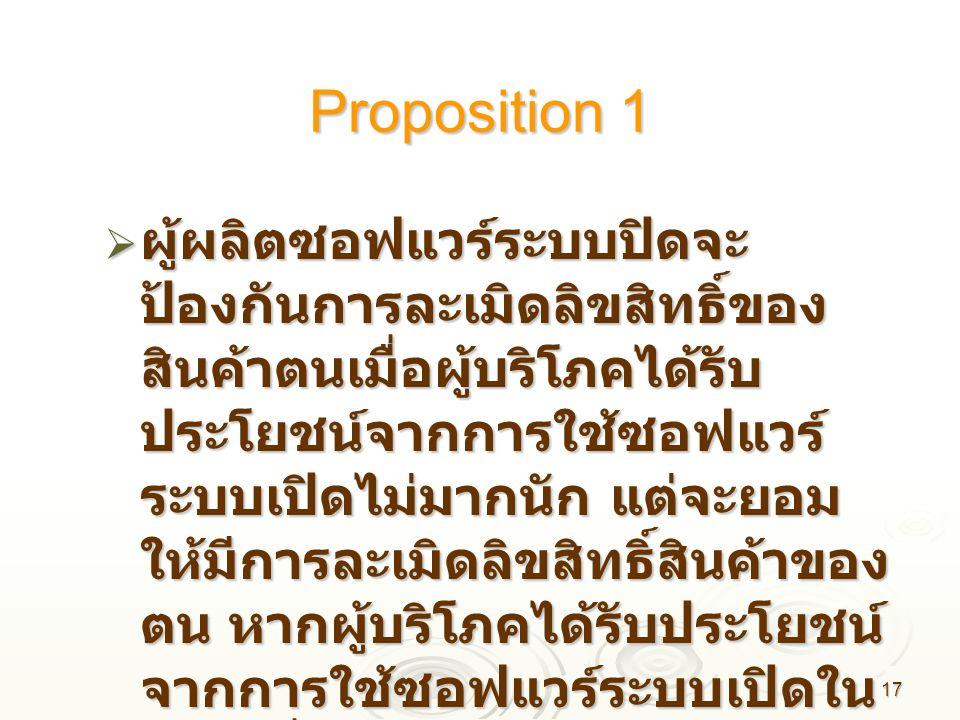 17 Proposition 1  ผู้ผลิตซอฟแวร์ระบบปิดจะ ป้องกันการละเมิดลิขสิทธิ์ของ สินค้าตนเมื่อผู้บริโภคได้รับ ประโยชน์จากการใช้ซอฟแวร์ ระบบเปิดไม่มากนัก แต่จะย