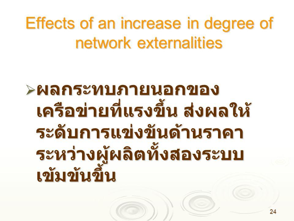 24 Effects of an increase in degree of network externalities  ผลกระทบภายนอกของ เครือข่ายที่แรงขึ้น ส่งผลให้ ระดับการแข่งขันด้านราคา ระหว่างผู้ผลิตทั้