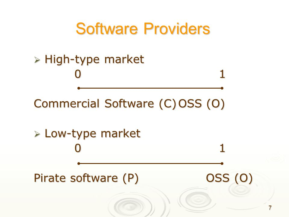 8 Equilibrium of the model  Two-stage game Stage 1: ผู้ผลิตซอฟแวร์ตั้งราคา สินค้าของตน Stage 1: ผู้ผลิตซอฟแวร์ตั้งราคา สินค้าของตน Stage 2: ผู้บริโภคตัดสินใจเลือก ซื้อสินค้าจากข้อมูล ราคาที่ได้รับ (p C,p O ) Stage 2: ผู้บริโภคตัดสินใจเลือก ซื้อสินค้าจากข้อมูล ราคาที่ได้รับ (p C,p O )