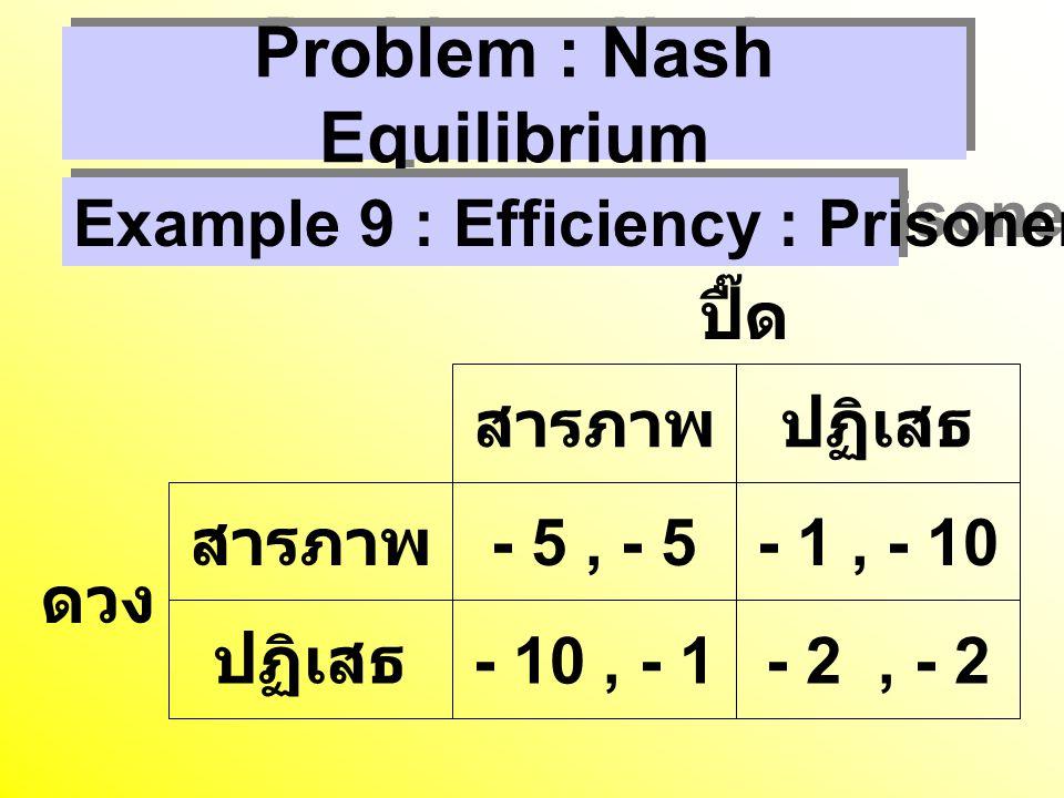 Problem : Nash Equilibrium สารภาพปฏิเสธ สารภาพ - 5, - 5- 1, - 10 ปฏิเสธ - 10, - 1- 2, - 2 ปื๊ด ดวง Example 9 : Efficiency : Prisoners' Dilemma
