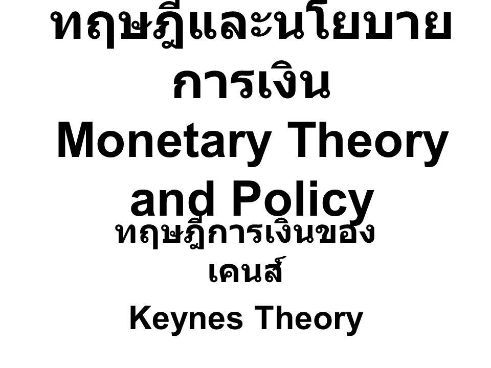 ทฤษฎีและนโยบาย การเงิน Monetary Theory and Policy ทฤษฎีการเงินของ เคนส์ Keynes Theory