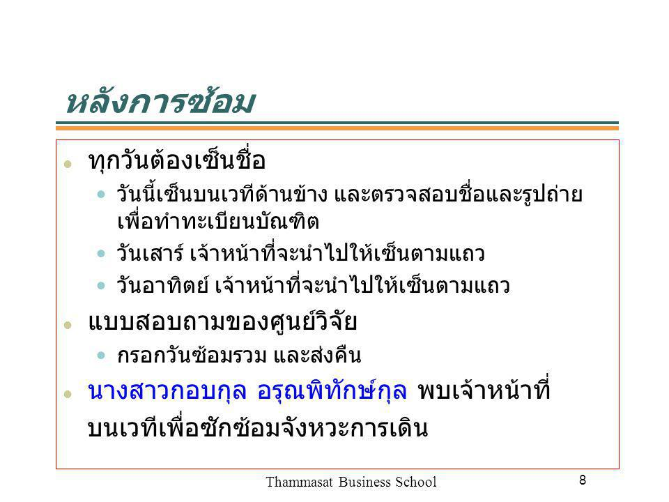 Thammasat Business School 8 หลังการซ้อม ทุกวันต้องเซ็นชื่อ วันนี้เซ็นบนเวทีด้านข้าง และตรวจสอบชื่อและรูปถ่าย เพื่อทำทะเบียนบัณฑิต วันเสาร์ เจ้าหน้าที่จะนำไปให้เซ็นตามแถว วันอาทิตย์ เจ้าหน้าที่จะนำไปให้เซ็นตามแถว แบบสอบถามของศูนย์วิจัย กรอกวันซ้อมรวม และส่งคืน นางสาวกอบกุล อรุณพิทักษ์กุล พบเจ้าหน้าที่ บนเวทีเพื่อซักซ้อมจังหวะการเดิน