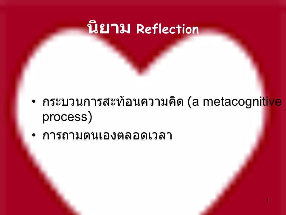 1 นิยาม Reflection กระบวนการสะท้อนความคิด (a metacognitive process) การถามตนเองตลอดเวลา