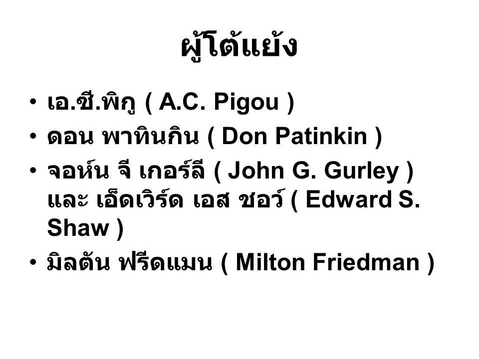 ผู้โต้แย้ง เอ.ซี. พิกู ( A.C. Pigou ) ดอน พาทินกิน ( Don Patinkin ) จอห์น จี เกอร์ลี ( John G.