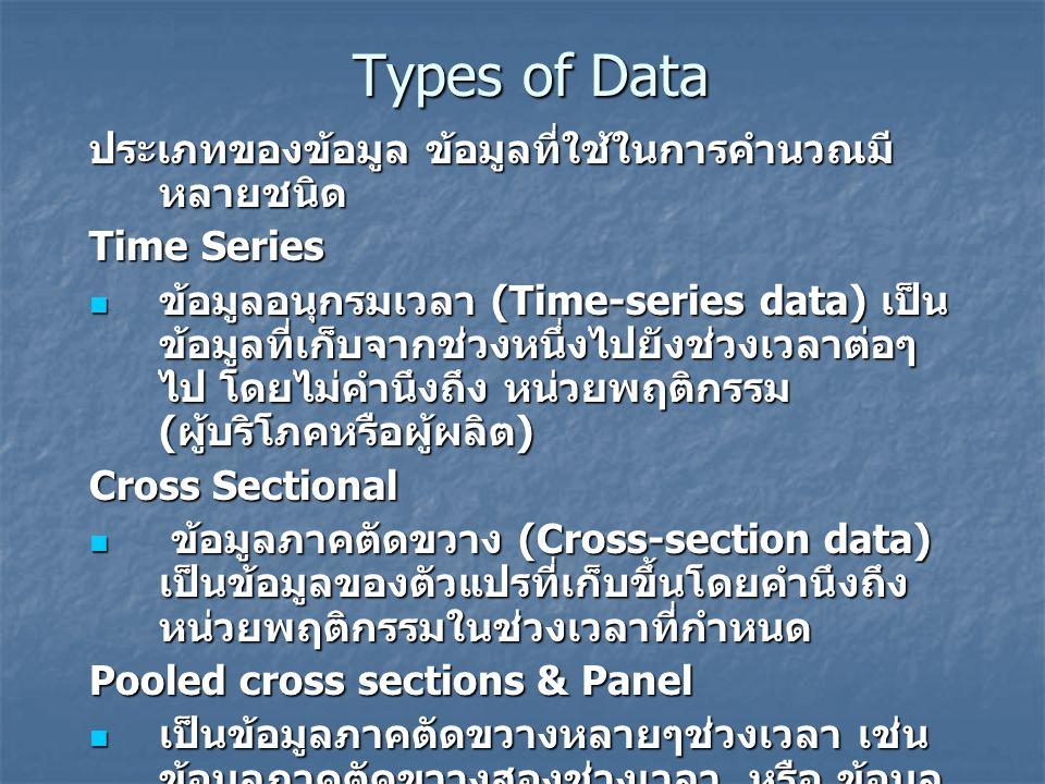 Types of Data ประเภทของข้อมูล ข้อมูลที่ใช้ในการคำนวณมี หลายชนิด Time Series ข้อมูลอนุกรมเวลา (Time-series data) เป็น ข้อมูลที่เก็บจากช่วงหนึ่งไปยังช่ว