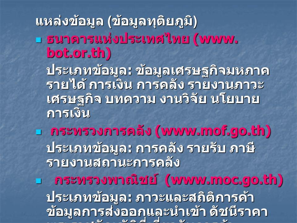 แหล่งข้อมูล ( ข้อมูลทุติยภูมิ ) ธนาคารแห่งประเทศไทย (www. bot.or.th) ธนาคารแห่งประเทศไทย (www. bot.or.th) ประเภทข้อมูล : ข้อมูลเศรษฐกิจมหภาค รายได้ กา