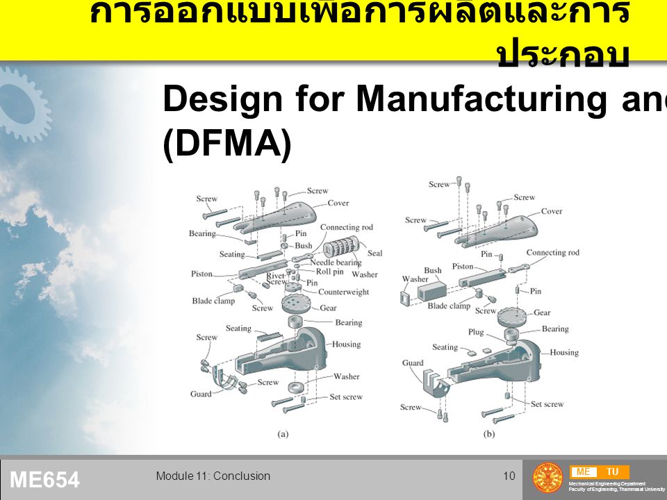 METU Mechanical Engineering Department Faculty of Engineering, Thammasat University ME654 Module 11: Conclusion10 การออกแบบเพื่อการผลิตและการ ประกอบ Design for Manufacturing and Assembly (DFMA)