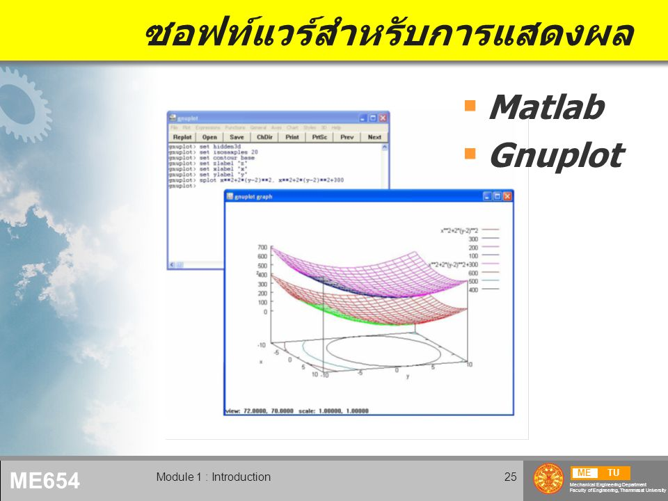 METU Mechanical Engineering Department Faculty of Engineering, Thammasat University ME654 Module 1 : Introduction25 ซอฟท์แวร์สำหรับการแสดงผล  Matlab  Gnuplot