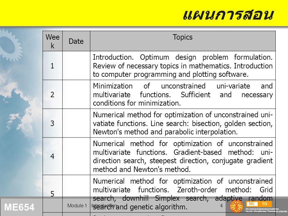 METU Mechanical Engineering Department Faculty of Engineering, Thammasat University ME654 Module 1 : Introduction15 ตัวอย่างปัญหาการออกแบบ Design of a rod under tension