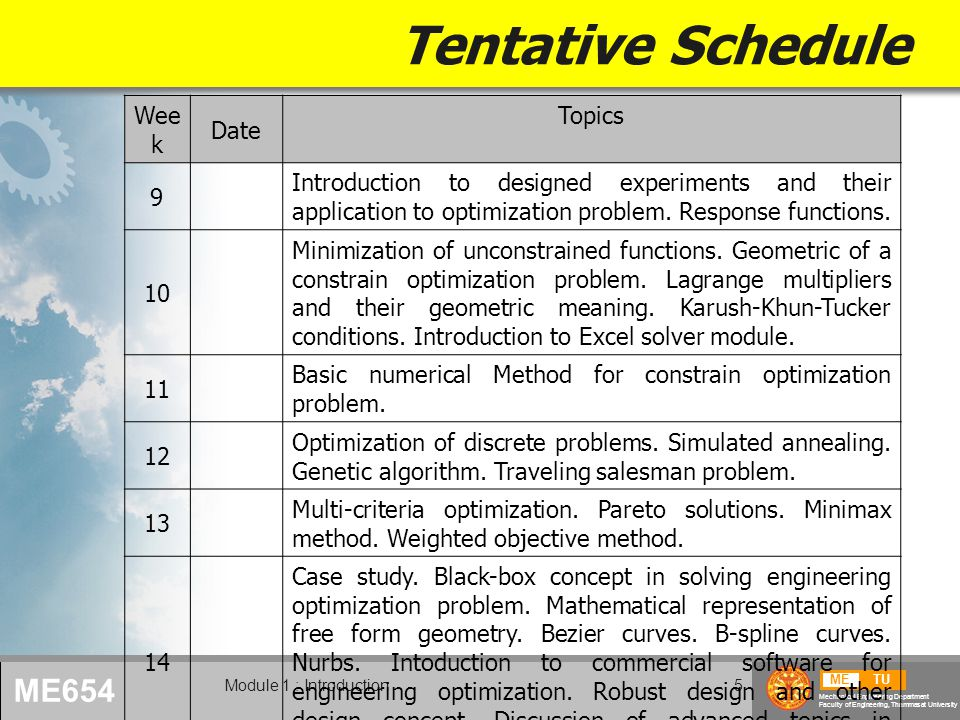 METU Mechanical Engineering Department Faculty of Engineering, Thammasat University ME654 Module 1 : Introduction5 Tentative Schedule Wee k Date Topics 9 Introduction to designed experiments and their application to optimization problem.