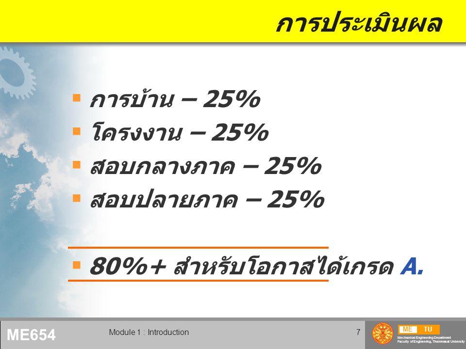 METU Mechanical Engineering Department Faculty of Engineering, Thammasat University ME654 Module 1 : Introduction8 วิชาบังคับก่อน  Engineering Mechanics Statics/Dynamics Mechanics of Solids  Mathematics Algebra Calculus  Programming skill ไม่มีวิชาบังคับก่อน แต่ต้องใช้ความรู้ดังต่อไปนี้