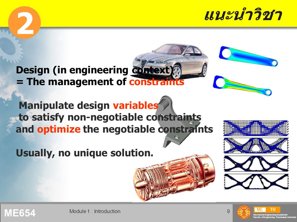 METU Mechanical Engineering Department Faculty of Engineering, Thammasat University ME654 Module 1 : Introduction10 ขั้นตอนการออกแบบ Recognition of Need Problem Formulation Conceptual Design Component Design Optimization Prototyping System Design Testing Manufacturing Process Design Production