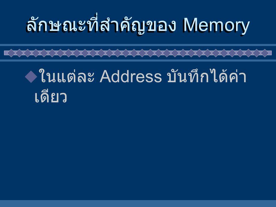 ลักษณะที่สำคัญของ Memory  ในแต่ละ Address บันทึกได้ค่า เดียว