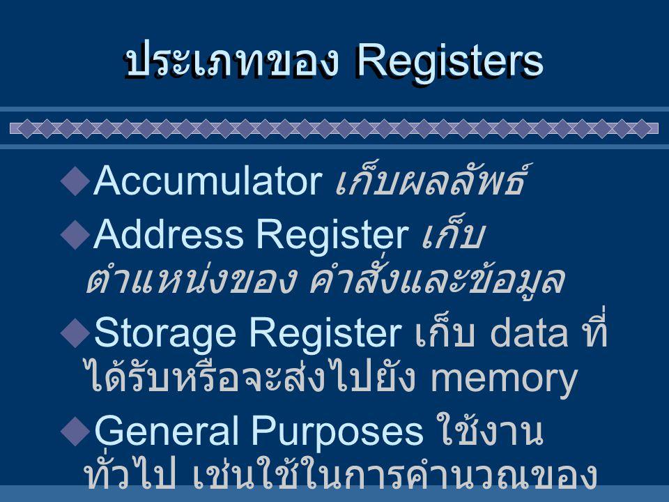 ประเภทของ Registers  Accumulator เก็บผลลัพธ์  Address Register เก็บ ตำแหน่งของ คำสั่งและข้อมูล  Storage Register เก็บ data ที่ ได้รับหรือจะส่งไปยัง