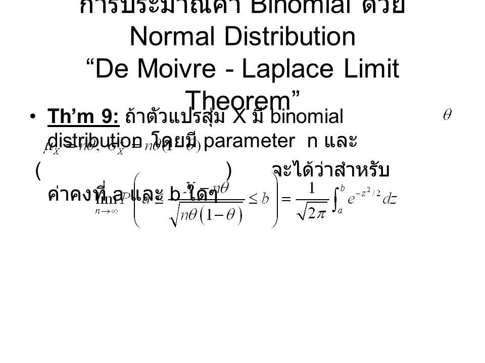 """การประมาณค่า Binomial ด้วย Normal Distribution """"De Moivre - Laplace Limit Theorem"""" Th'm 9: ถ้าตัวแปรสุ่ม X มี binomial distribution โดยมี parameter n"""