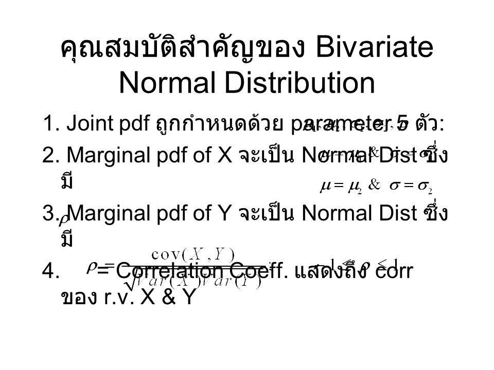 คุณสมบัติสำคัญของ Bivariate Normal Distribution 1. Joint pdf ถูกกำหนดด้วย parameter 5 ตัว : 2. Marginal pdf of X จะเป็น Normal Dist ซึ่ง มี 3. Margina