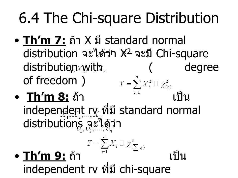6.4 The Chi-square Distribution Th'm 7: ถ้า X มี standard normal distribution จะได้ว่า X 2 จะมี Chi-square distribution with ( degree of freedom ) Th'm 8: ถ้า เป็น independent rv ที่มี standard normal distributions จะได้ว่า Th'm 9: ถ้า เป็น independent rv ที่มี chi-square distribution with degree of freedom จะได้ว่า