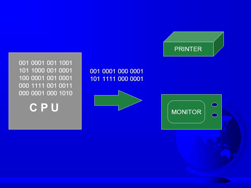 C P U 001 0001 001 1001 101 1000 001 0001 100 0001 001 0001 000 1111 001 0011 000 0001 000 1010 001 0001 000 0001 101 1111 000 0001 MONITOR PRINTER